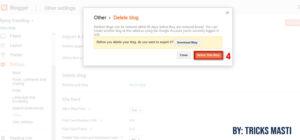 delete a blog on blogger